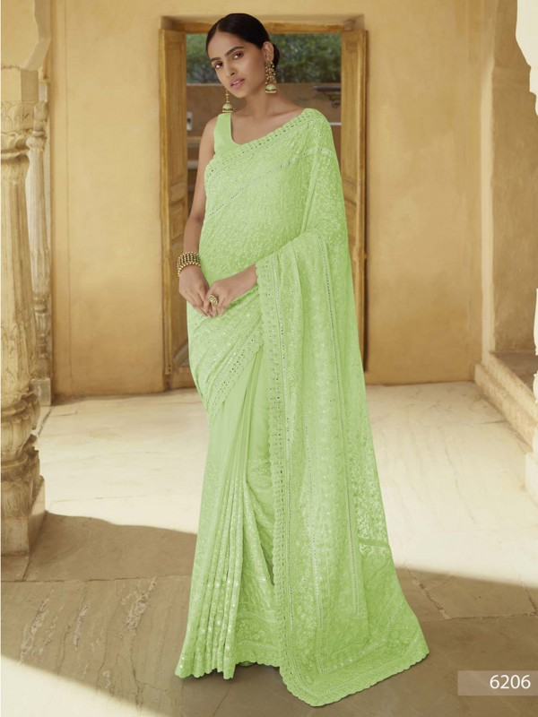 Green Colour Georgette Fabric Indian Women Saree.