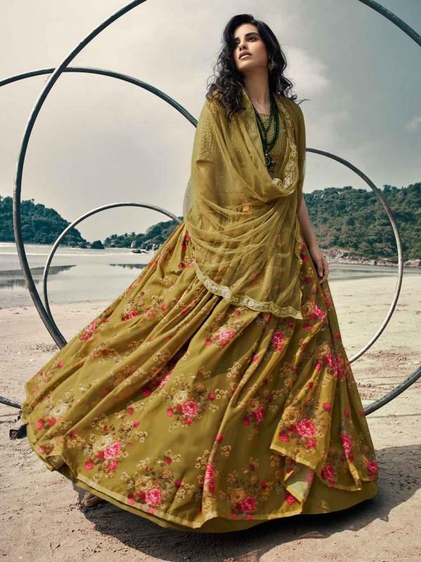 Beautiful Olive Green Colour Organza Fabric Printed Lehenga Choli.