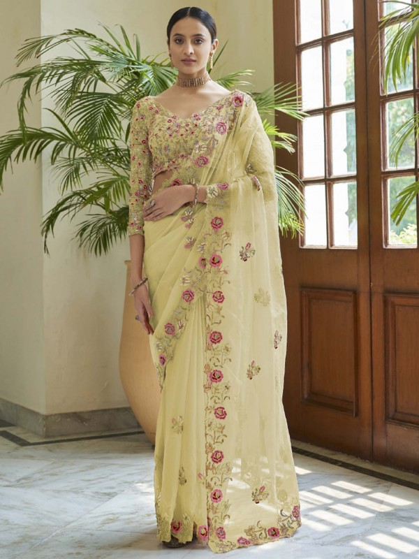 Organza Fabric Designer Saree Yellow Colour.