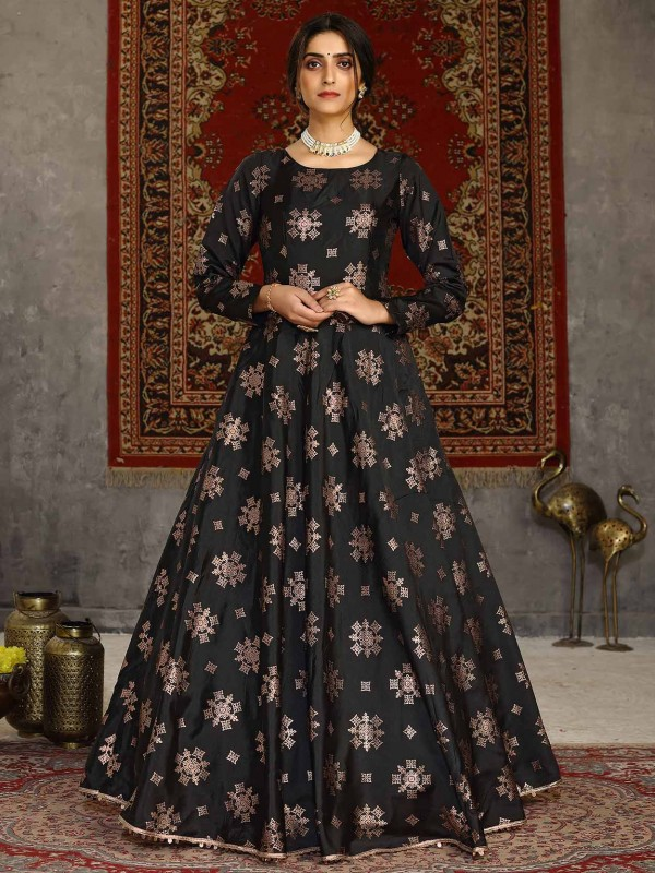 Black Colour Taffeta Silk Fabric Readymade Gown.