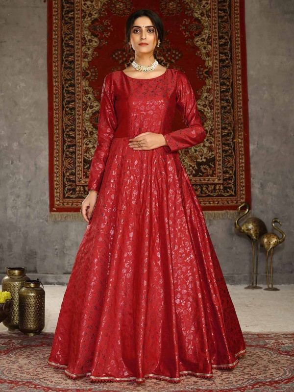 Red Colour Silk Fabric Designer Gown.