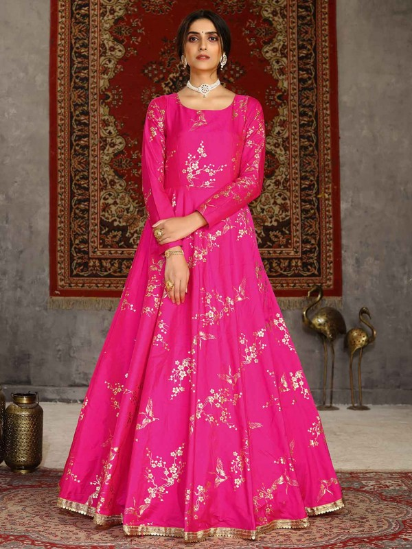 Pink Colour Party Wear Gown in Silk Fabric.