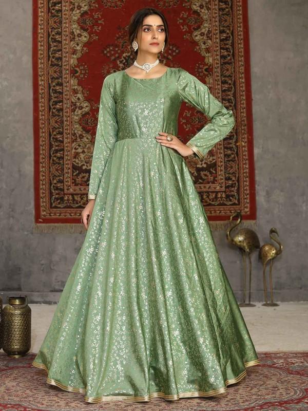 Green Colour Silk Designer Gown.