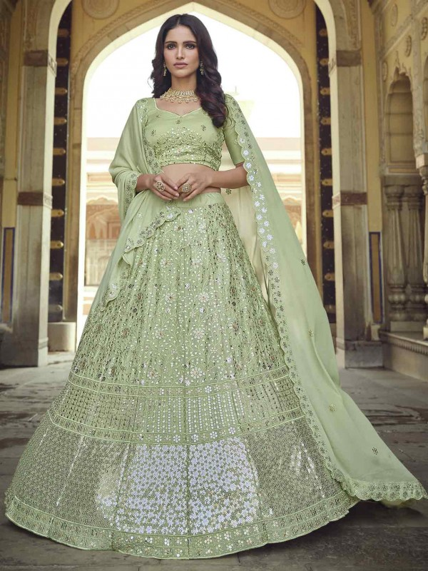 Green Colour Georgette Lehenga Choli With Sequin,Thread Work.