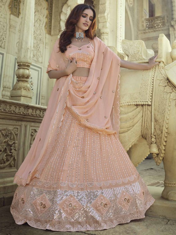 Beautiful Peach Colour Designer Lehenga in Georgette Fabric.