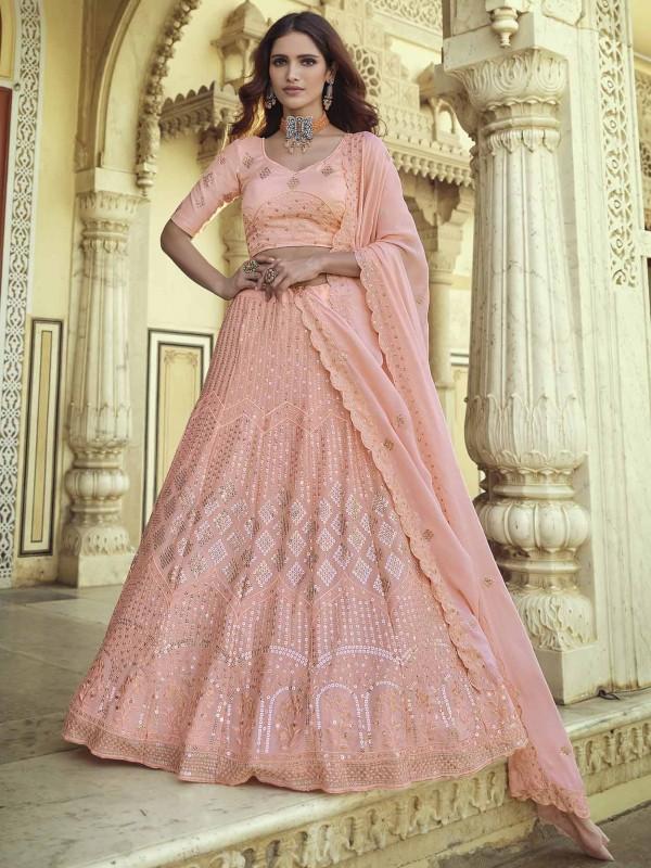 Pink Colour Indian Designer Lehenga Choli in Georgette Fabric.