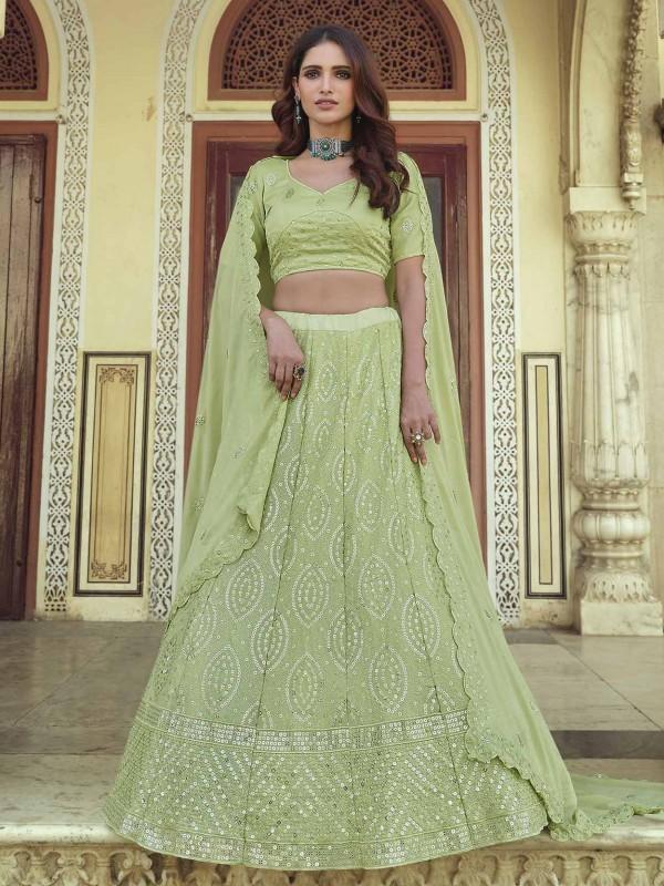 Green Colour Indian Designer Lehenga in Georgette Fabric.