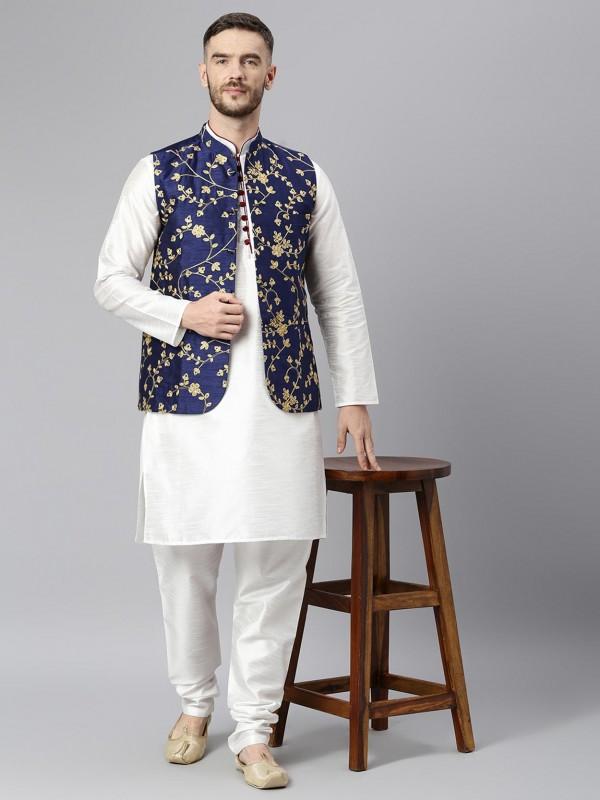White Colour Dupion Silk Men's Kurta Pajama Jacket.