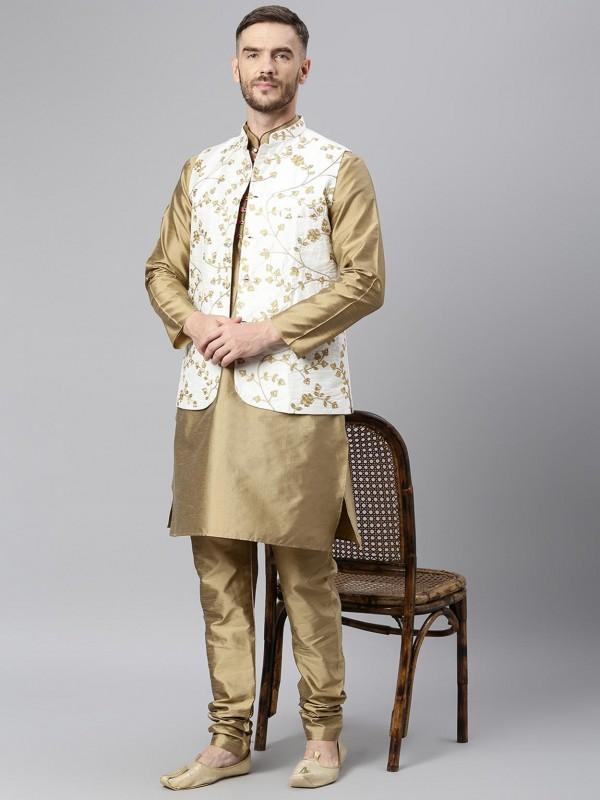 Beige Colour Men's Kurta Pajama Jacket Dupion Silk Fabric.