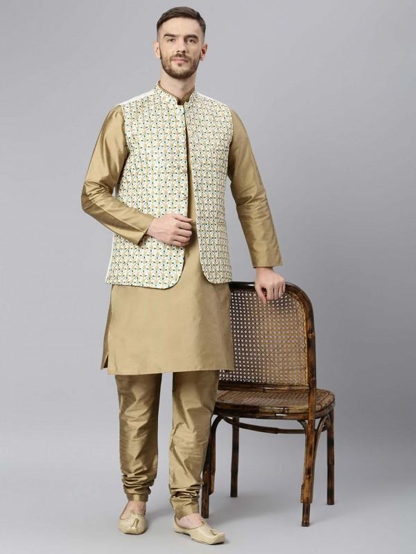 Beige Colour Readymade Kurta Pajama Jacket.