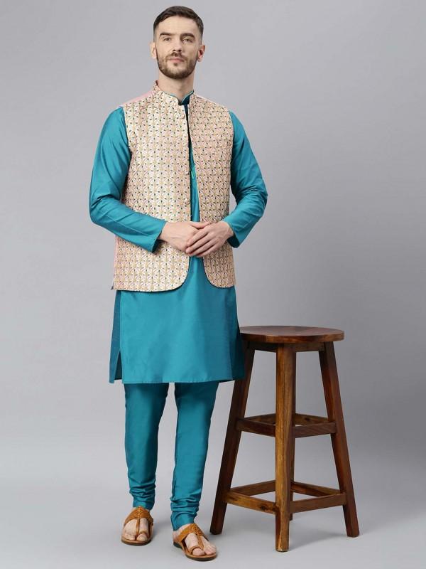 Blue Colour Dupion Silk Men's Kurta Pajama Jacket.