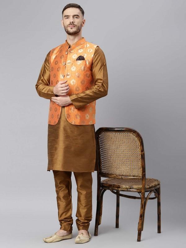 Men's Kurta Pajama Jacket Brown Colour.