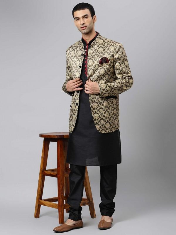 Black Colour Designer Kurta Pajama Jacket.