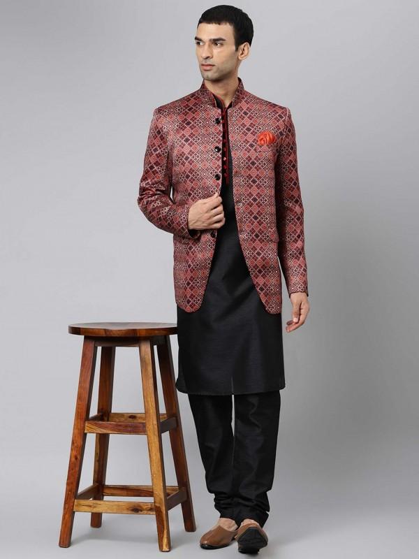 Black Colour Readymade Kurta Pajama Jacket.