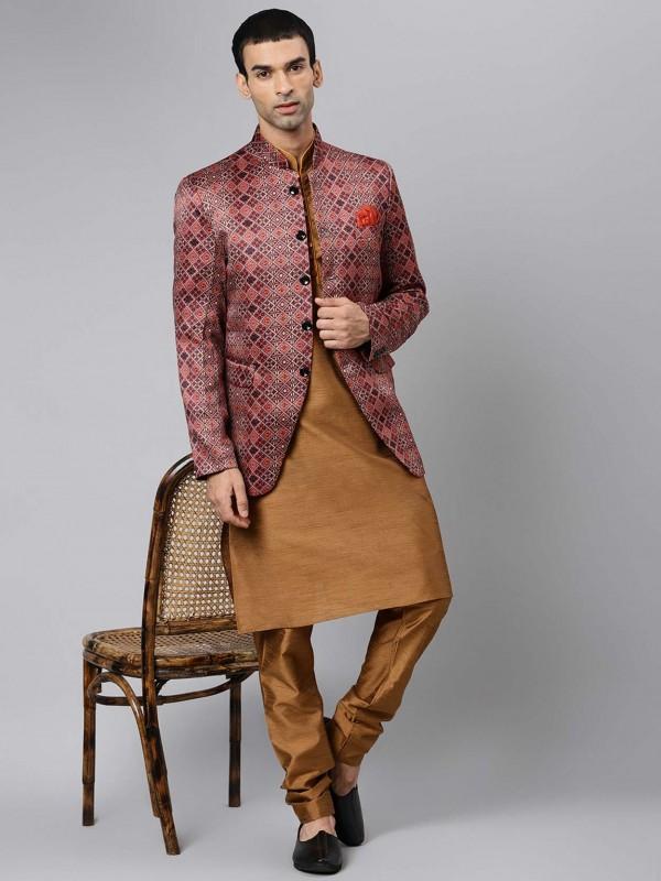 Brown Colour Viscose Fabric Kurta Pajama Jacket.