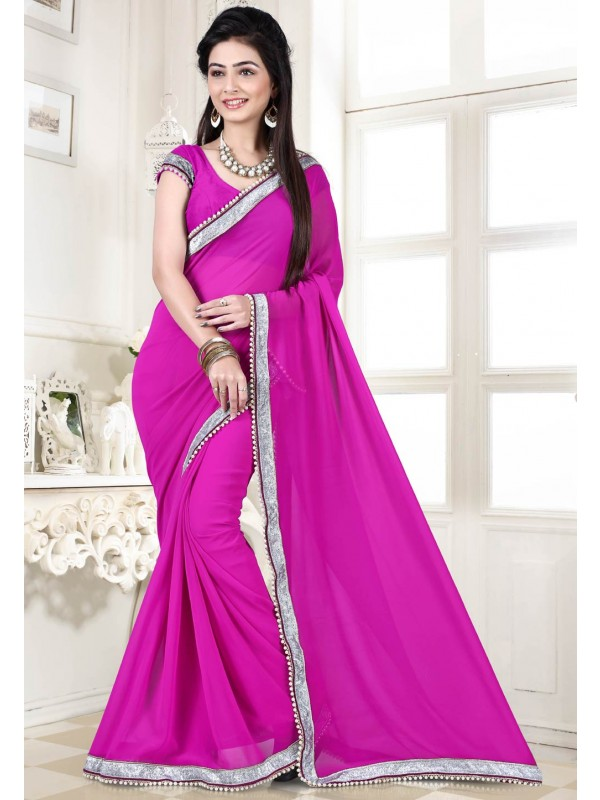 Rani Pink Color Georgette Indian Saree