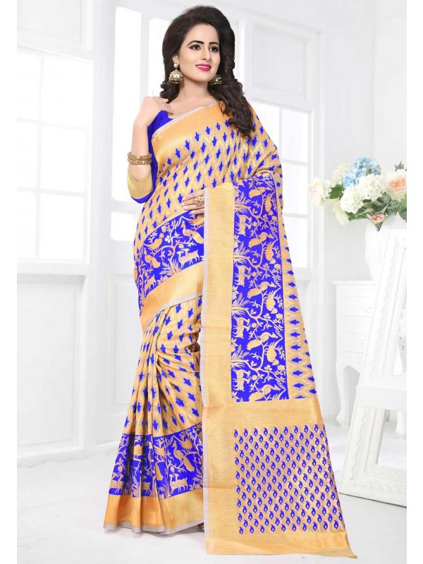 Blue,Beige Color Saree With Bhagalpuri Silk Fabric