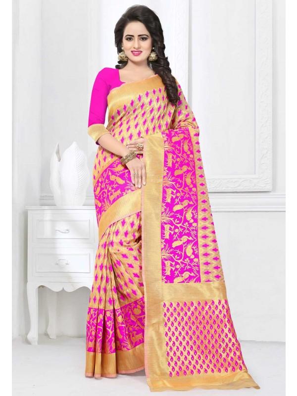 Pink,Beige Color Party Wear Saree