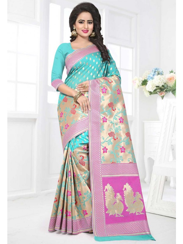 Turquoise Color Saree With Nice-looking Plain Pallu