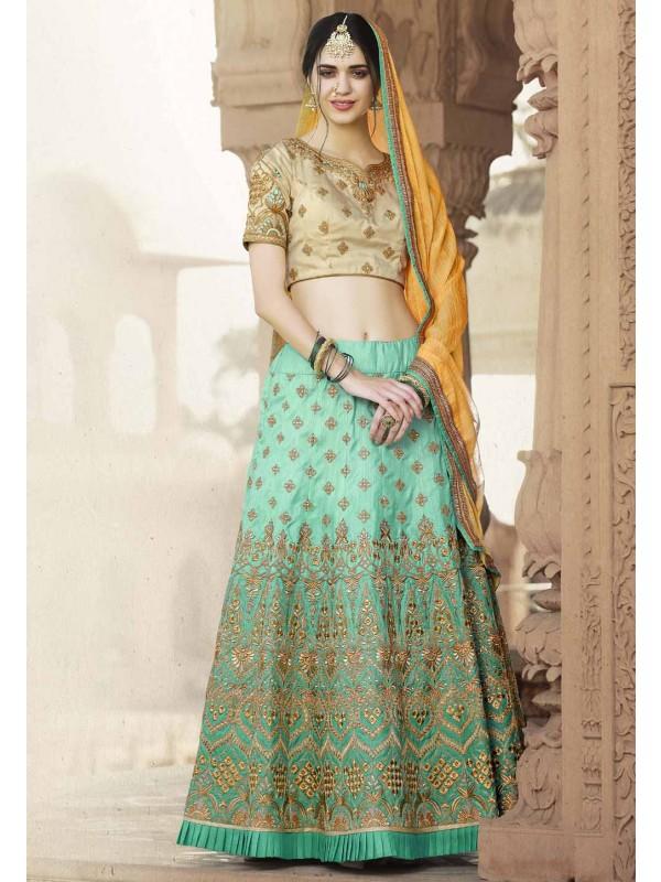Women's Banarasi Silk Fabric & Turquoise Color Pretty A Line Lehenga Style