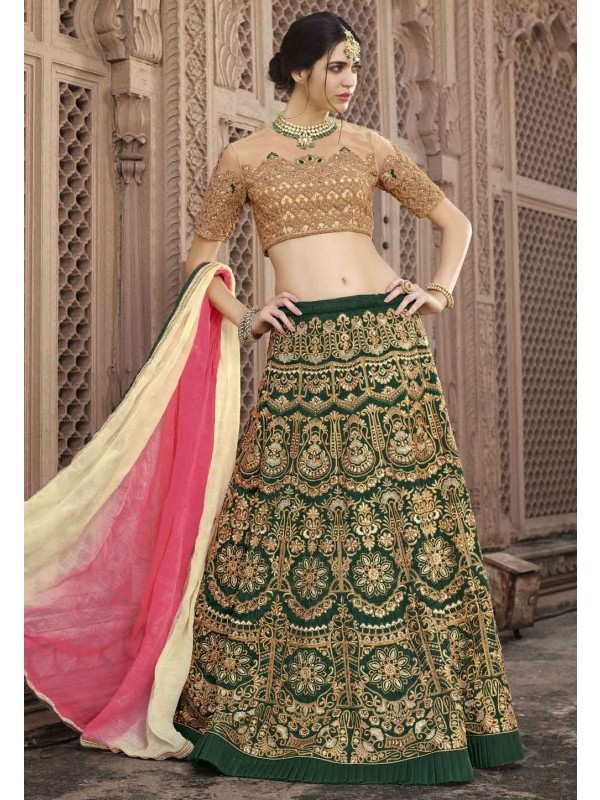 Deep Green Color Engagement Lehenga Choli