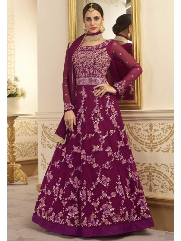 Purple Color Designer Anarkali Salwar Kameez