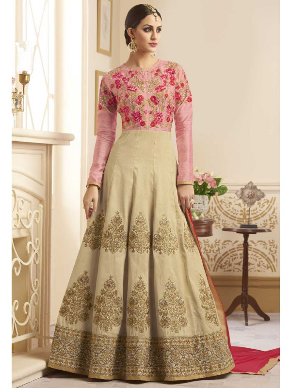 Beige,Pink Color Incredible Salwar Kameez in Anarkali Style