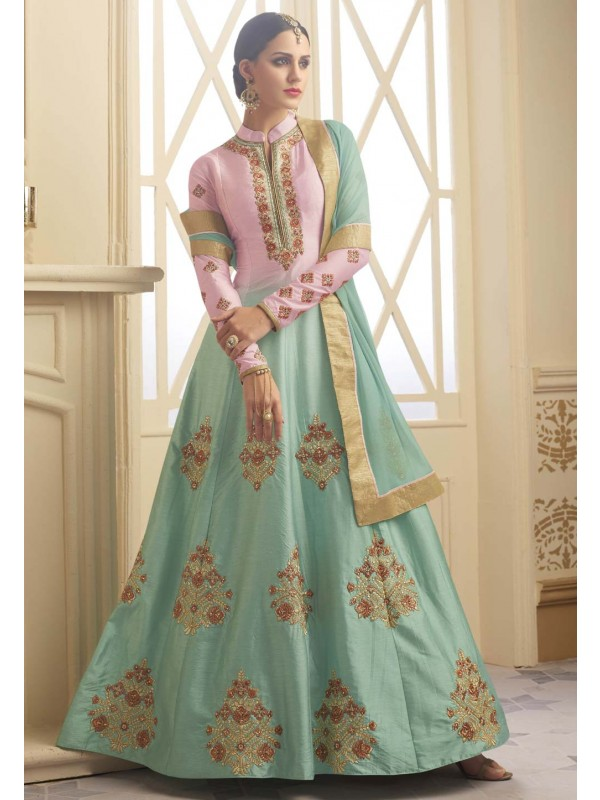 Turquoise Color with Embroidery Work Beautiful Salwar Kameez
