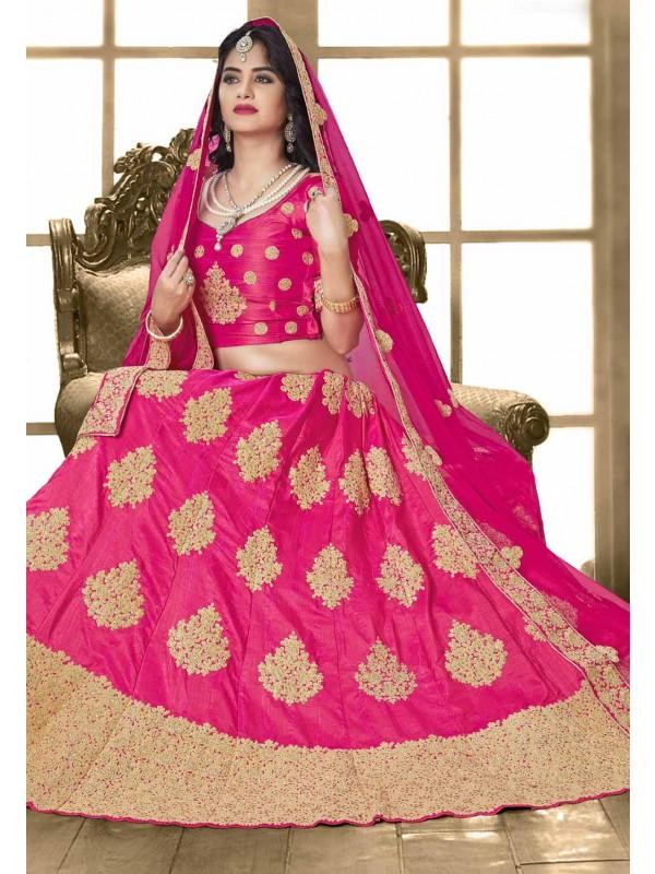 Royal Pink Color Designer Bridal Lehenga Choli