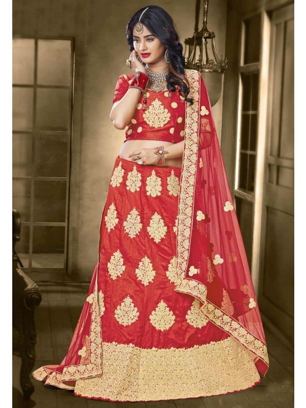 Women's Banarasi Silk Fabric Red Color Pretty Unstitched Lehenga Choli