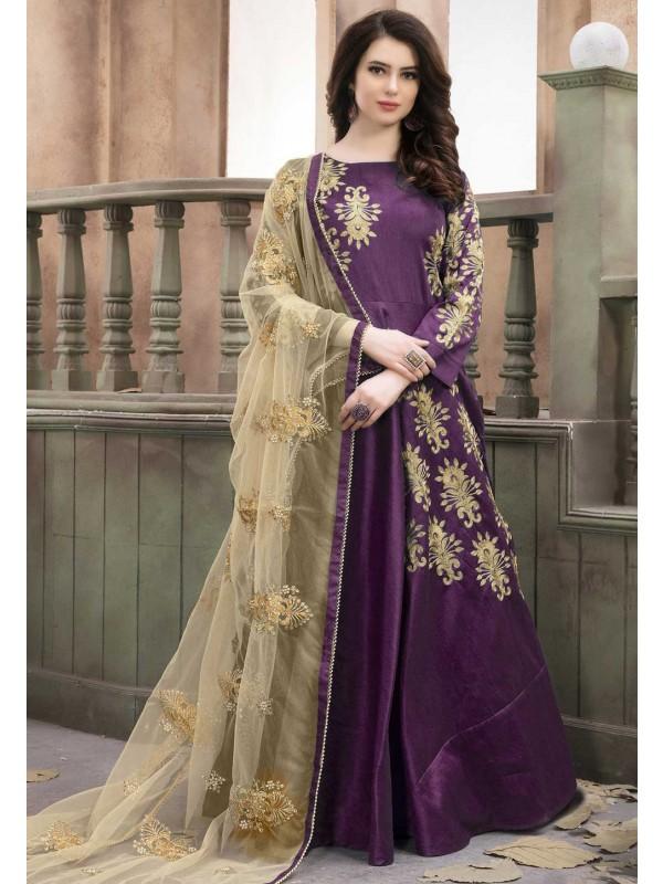 Anarkali Style Purple Color Designer Salwar Kameez