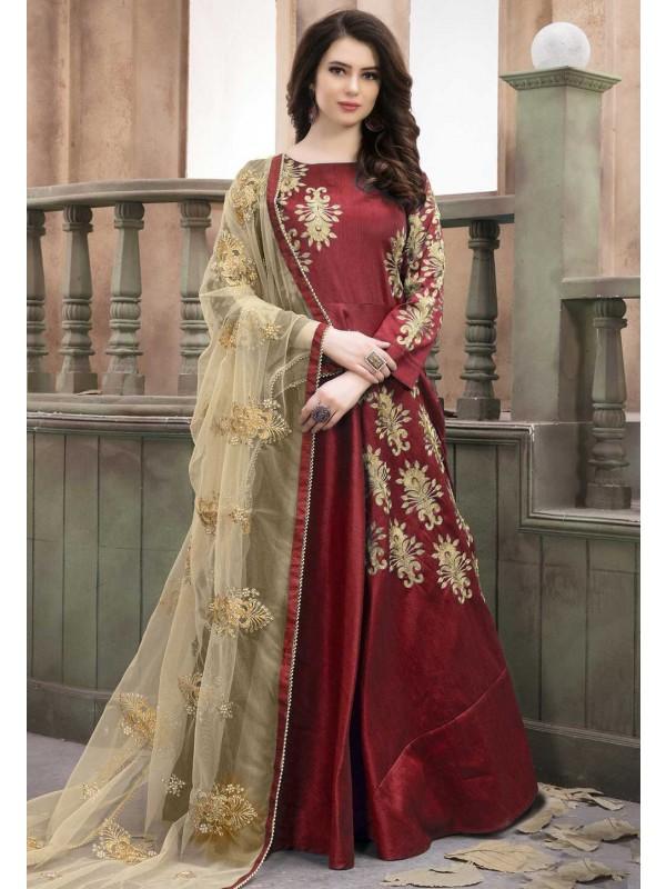 Maroon Color Anarkali Salwar Kameez