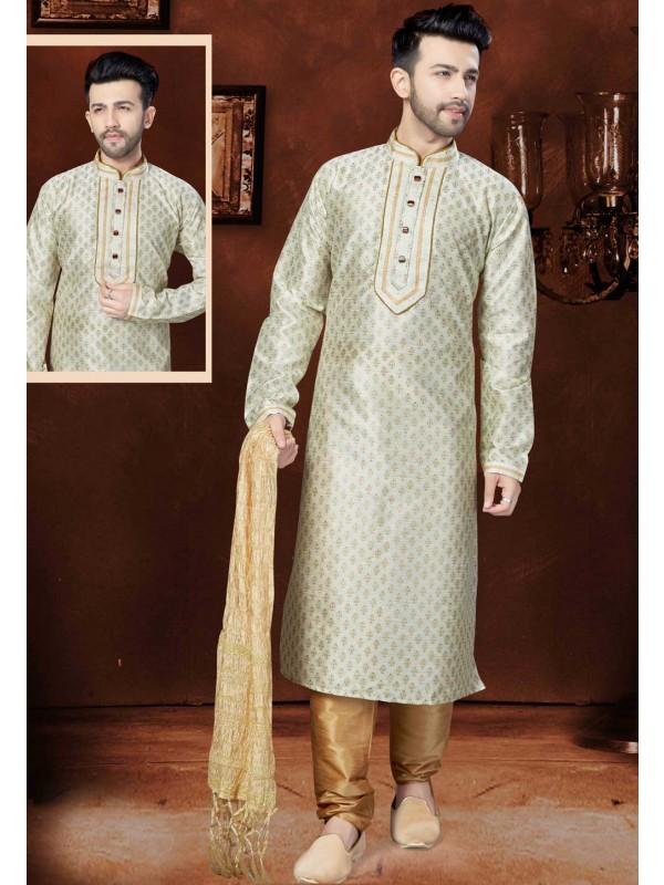 Exquisite Off White Color Silk Readymade Kurta For Mens