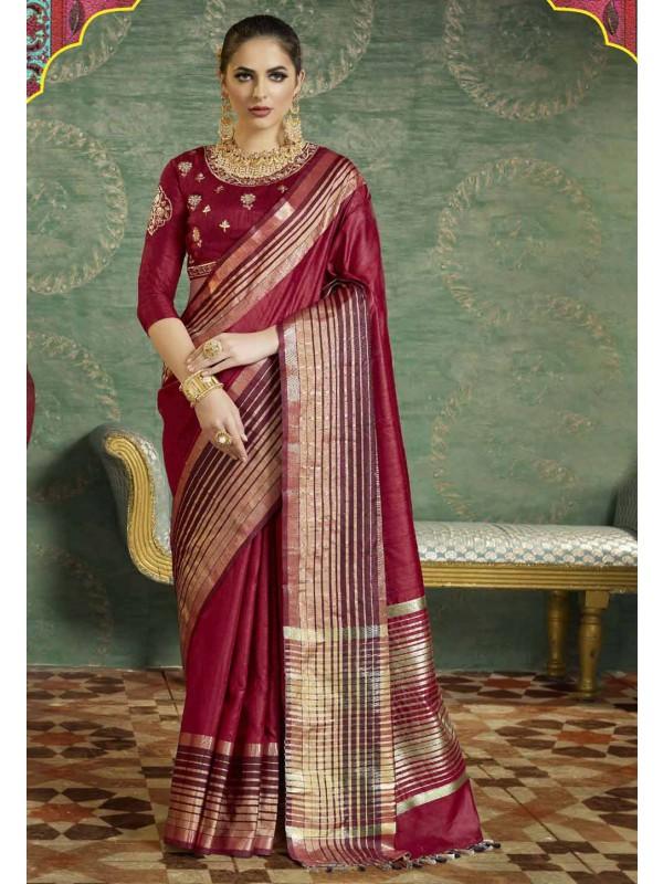 Nice-looking Maroon Color Silk Saree
