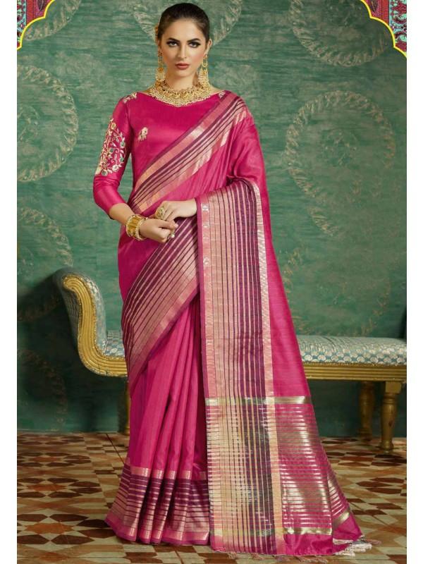 Nice-looking Plain Pallu Saree in Pink Color