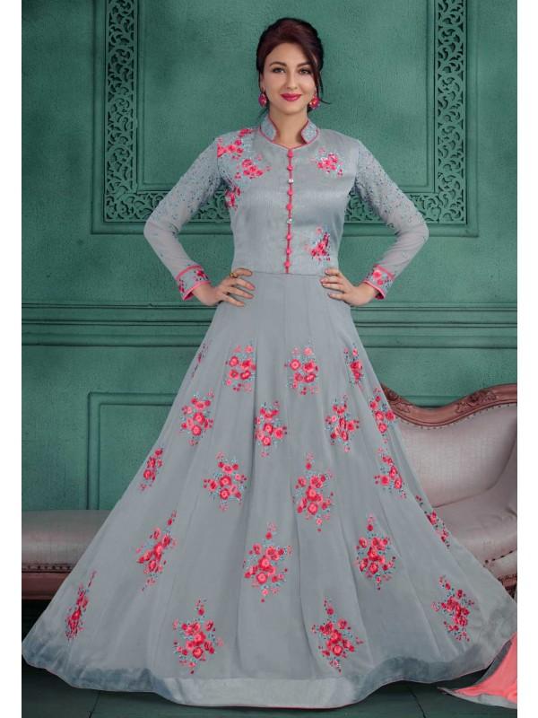 Grey Color Designer Salwar Kameez