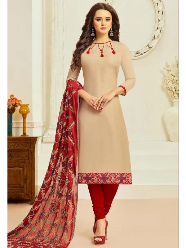 Beige Color Cotton Incredible Salwar Kameez