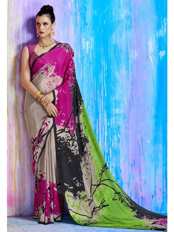 Astounding Pink,Beige Color Printed Saree