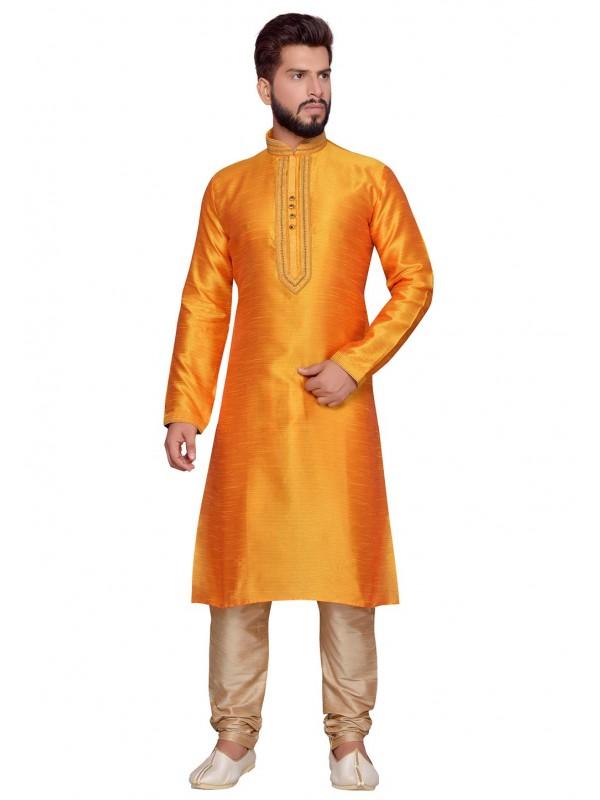 Traditional Look Yellow Color Art Silk Designer Kurta Pajama With Thread Work.