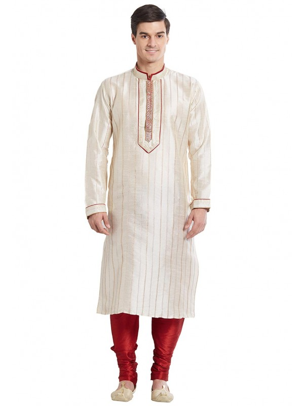 Off White Color Silk Readymade Kurta Pajama