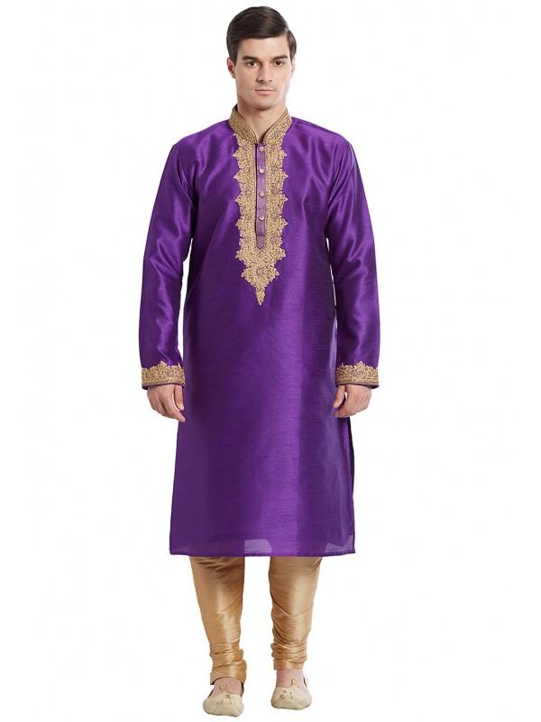 Purple Color Silk Readymade Kurta Pajama With Embroidery Work