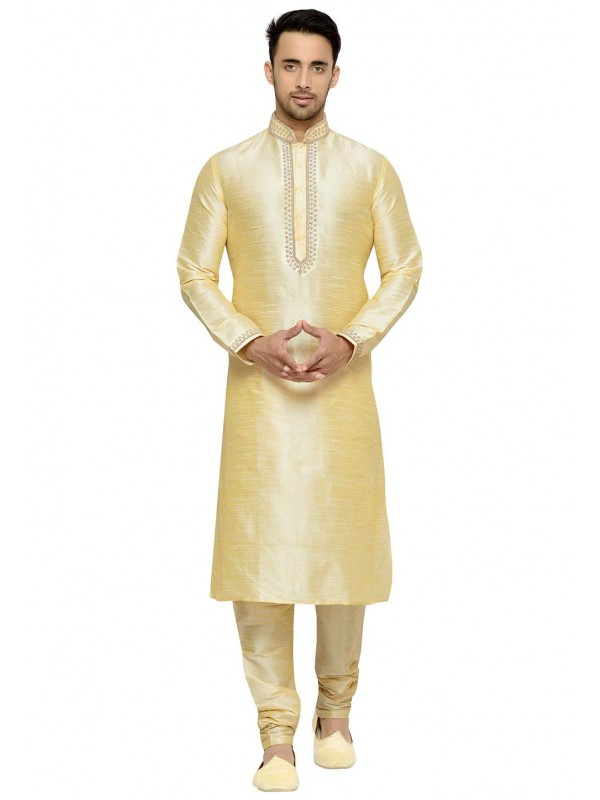 Golden Color Dupion Silk Redymade Kurta Pajama With Embroidery Work.