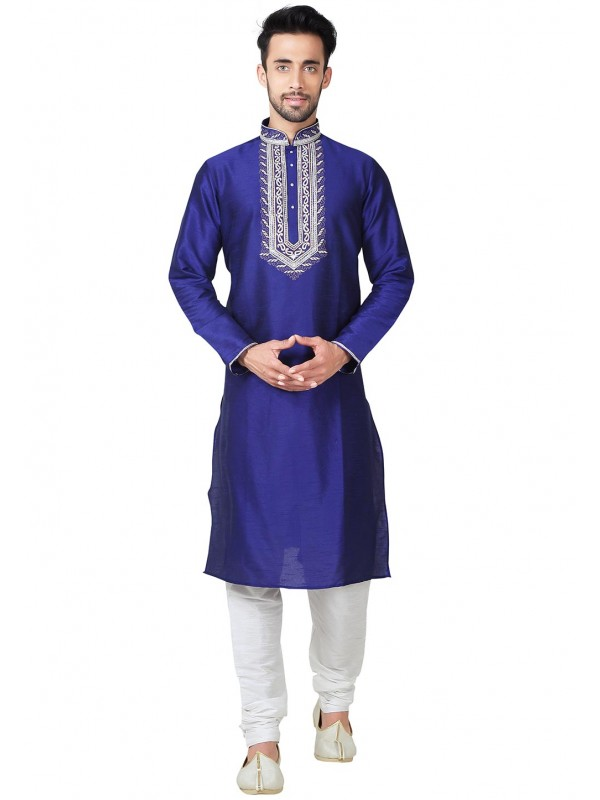 Blue Color Art Silk Fabric Indian Designer Kurta Pajama With Embroidery Work.