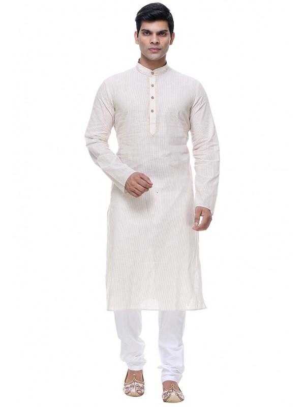 Cream Color Plain Kurta Pajama.