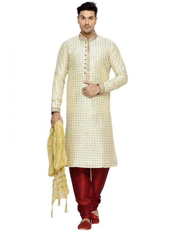 Cream Color Party Wear Kurta Pajama.