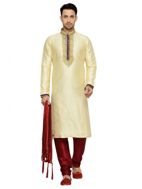 Golden Color Dupion Silk Designer Kurta Pajama.