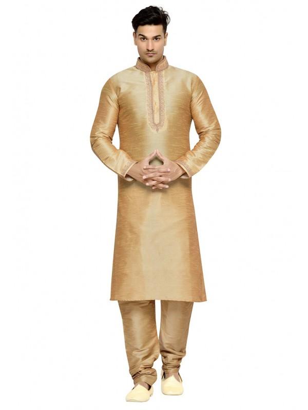 Beige Color Dupion Silk Readymade Kurta Pajama.