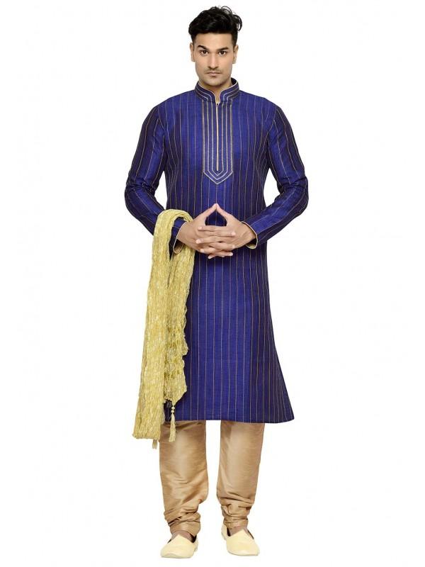 Blue Color Dupion Silk Kurta Pajama.