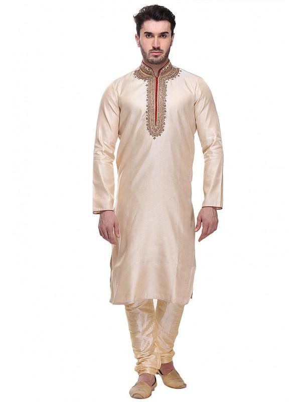 Golden Color Indian Designer Kurta Pajama.