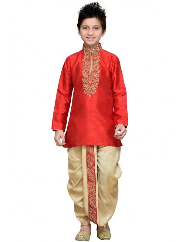 Red Color Cotton,Linen Fabric Dhoti Kurta.